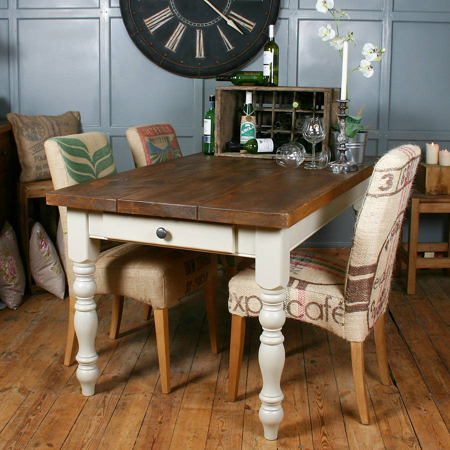 Solid wood vintage farmhouse table by h f for Table salle a manger blanche