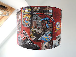 Handmade Lampshade In Superman Fabric