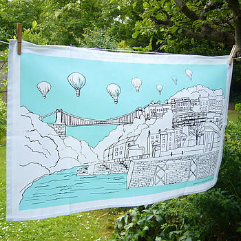 Bristol Tea Towel 'Clifton Balloons' Aqua