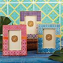 Two Tone Ikat Pattern Picture Frame