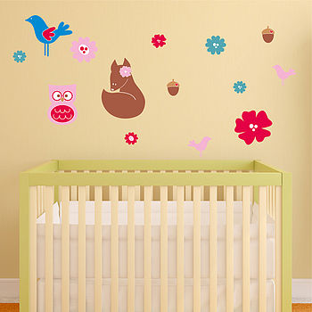 Woodland Scene Girls Wall Stickers