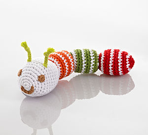 Soft Crochet Caterpillar Rattle - toys & games