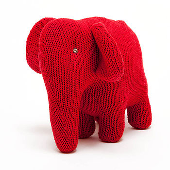 Knitted Red Elephant