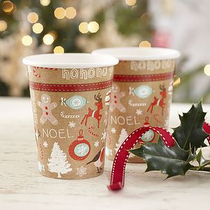 Vintage Style Christmas Party Paper Cups