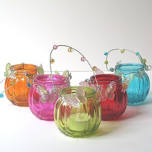 Decorated Glass Tea Light Lanterns - table decorations