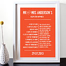 'Recipe For Happiness' Personalised Print