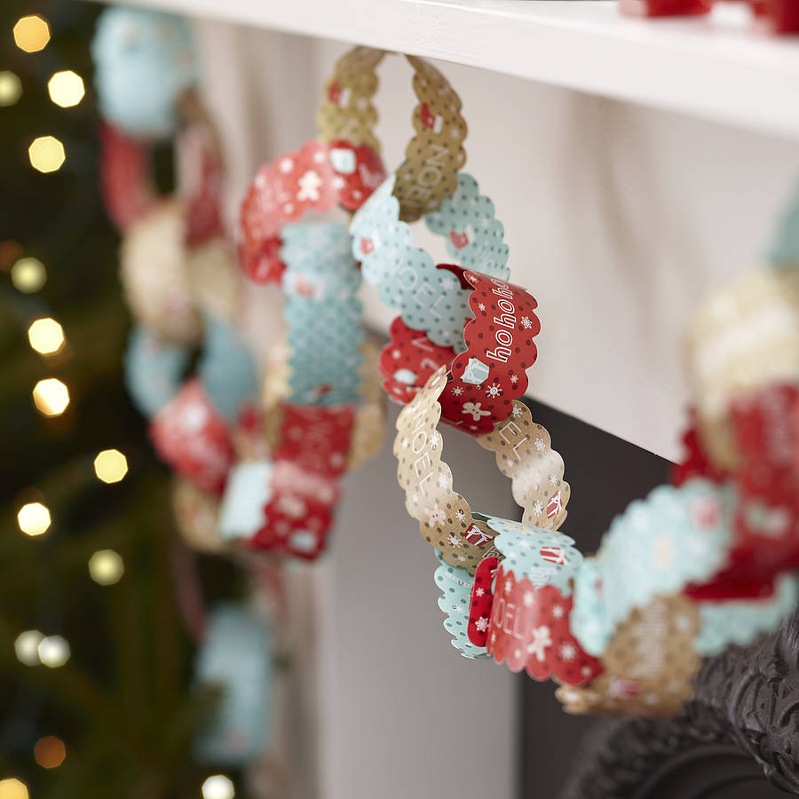 ten metres vintage christmas paper chain decorations by. Black Bedroom Furniture Sets. Home Design Ideas