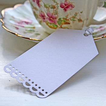10 White Luggage Tags With Ribbon