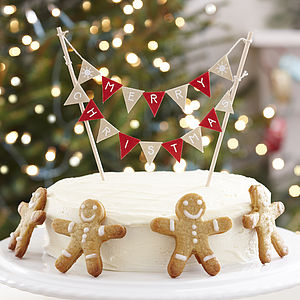 Vintage Style Christmas Cake Bunting - garlands, bunting & hanging decorations