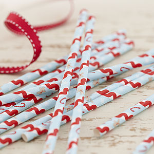 Vintage Style Christmas Party Paper Straws