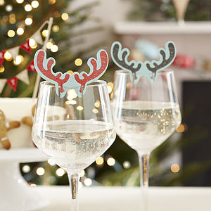 Antler Style Christmas Glass Decorations - partyware & accessories