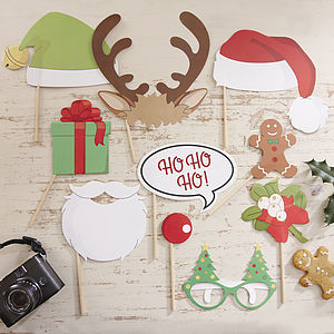 Ten Christmas Photo Booth Party Props - fancy dress