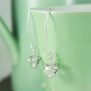 Silver And Crystal Blossom Flower Earrings