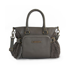 Dani Leather Handbag With Knit Panels
