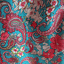 Aqua Green with Pink Flower - Pattern Fabric