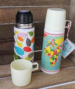 Funky Flowery/Map Thermos Flask - lunch boxes & bags