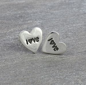 Love Heart Silver Stud Earrings - earrings