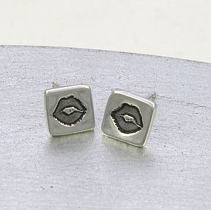Luscious Lips Girls Silver Stud Earrings
