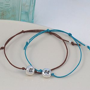 Initial Beanie Charm Friendship Bracelet - men's jewellery