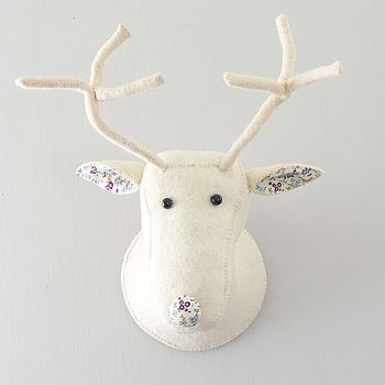 Cream Wool Felt And Floral Deer Head