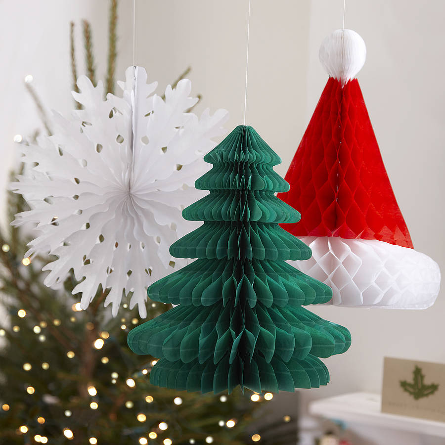 Three Christmas Honeycomb Hanging Decorations By Ginger