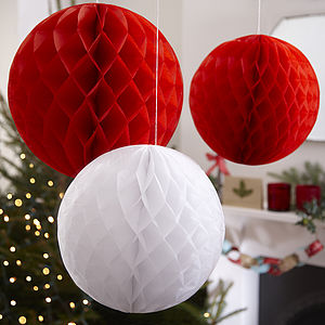 Three Christmas Honeycomb Balls Hanging Decorations - bunting & garlands