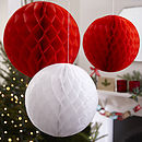 Three Christmas Honeycomb Balls Hanging Decorations
