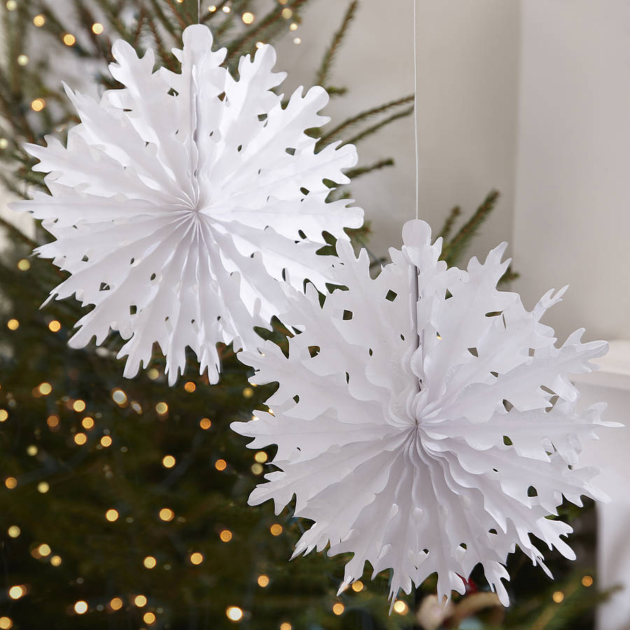 two pack christmas snowflake tissue paper decorations - Snowflake Christmas Decorations