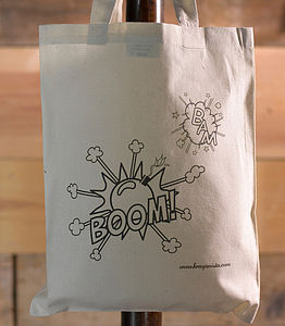 Retro 'Boom Pow' Colour In Tote Bag