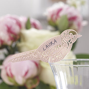 Pink Laser Cut Lace Bird Glass Place Card