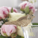 Gold Laser Cut Lace Bird Glass Place Card