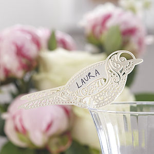 Ivory Laser Cut Lace Bird Glass Place Card