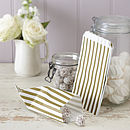 Pack Of 25 Gold Striped Candy Bags