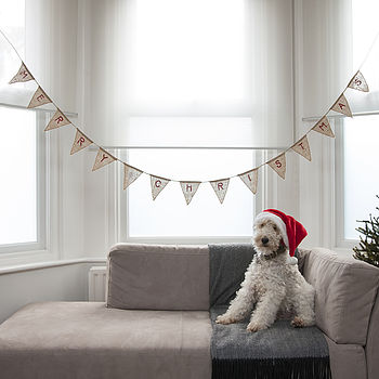 Vintage Style Merry Christmas Hessian Bunting