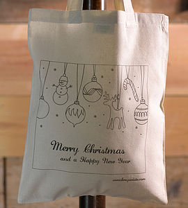 Christmas Design Colour In Tote Bag