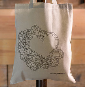 Groovy Heart Colour In Tote Bag
