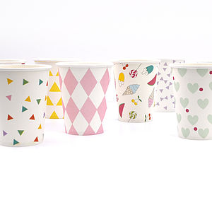 Set Of Eight Paper Drink Cups - tableware