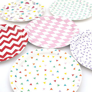Set Of Eight Paper Plates - festival season