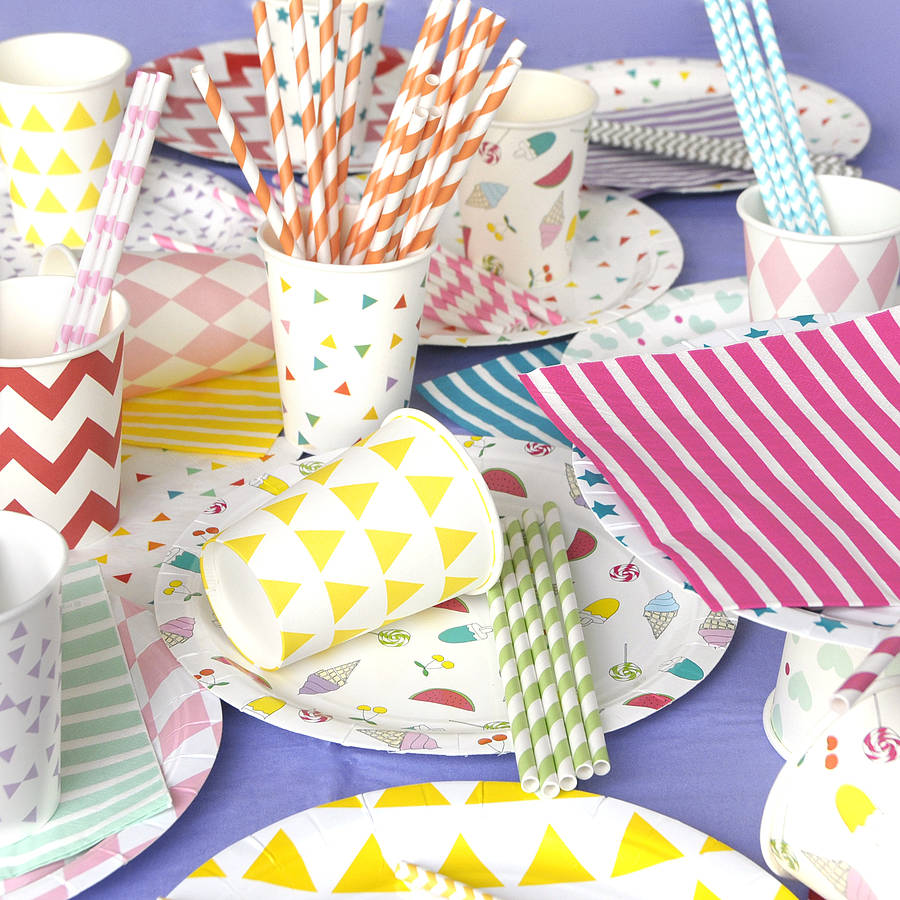 Set Of Eight Paper Party Plates By Peach Blossom