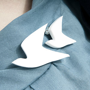 Pair Of Dove Brooches