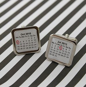 Personalised Calendar Cufflinks - men's jewellery
