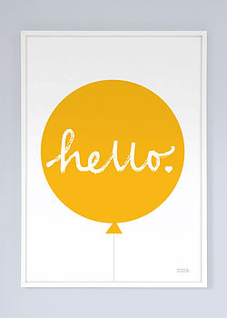 Hello Balloon Print Yellow