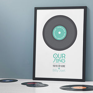 Personalised 'Our Song' Record Print - for him
