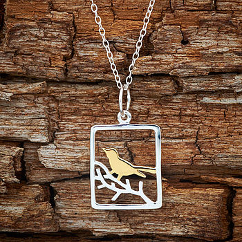 Sliver Bird Necklace With Gold Highlights