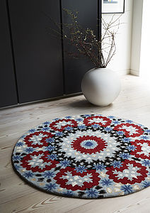 Nomadic Blue And Red Circular Patterned Rug - rugs & doormats