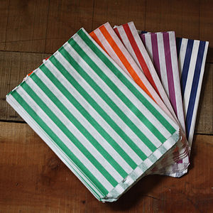 100 Coloured Paper Bags With Stripes - best bits for birthdays