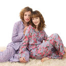 Pyjamas in daisy blue and vintage rose smoky blue