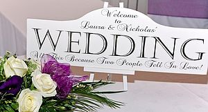 Large Personalised Wedding Sign & Easel - room decorations