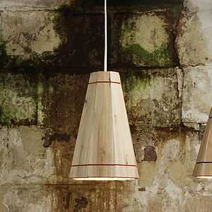 Large Wooden Pendant Lamp Shade - office & study