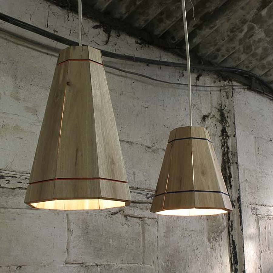 Large Wooden Pendant Lamp Shade By Factorytwentyone